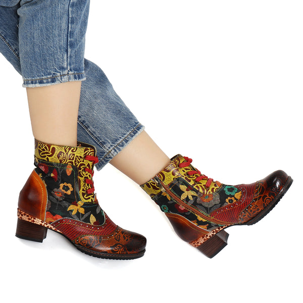 Gracosy Women Vintage Floral Pattern Leather Boots, Bohemian Handmade Boots for Autumn Winter