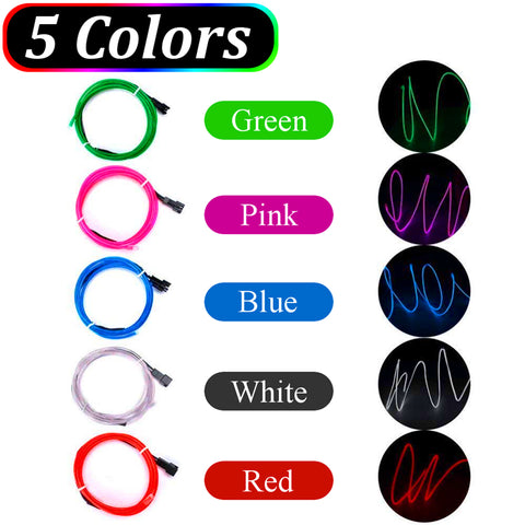5PCS 1M Flexible Neon EL Wires Rope Stipe Light w/ Battery Box DC3V Red/Green/Blue/White/Pink Color