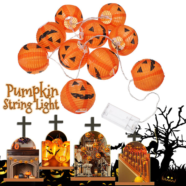 Halloween Pumpkin LED String Lights, DIY Holiday Decor Lights, Foldable Lantern Shaped, 10PCS a String