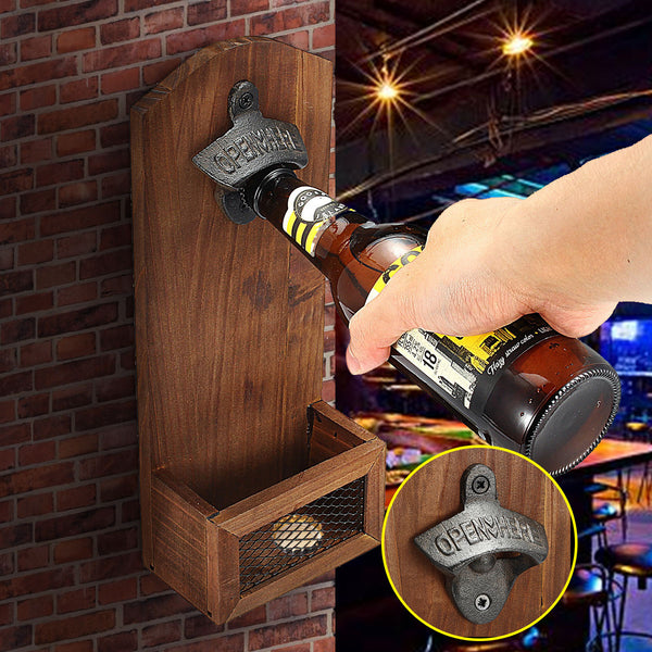 Vintage Style Wall Mounted Wooden Bottle Opener w/ Cap Catcher, for Home/Party Decor