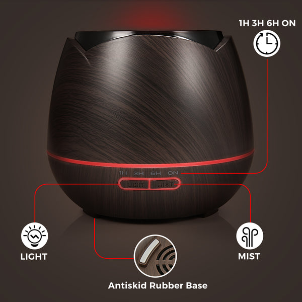 7 LED Colors Aromatherapy Essential Oil Diffuser(Euro Plug), Wood Grain Cool Mist Humidifier, Adjustable Mist Mode 400mL