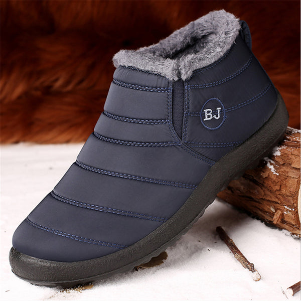Gracosy Men Winter Snow Slip On Ankle Boots, Waterproof Anti-Slip Fur Lined Warm Flat Boots