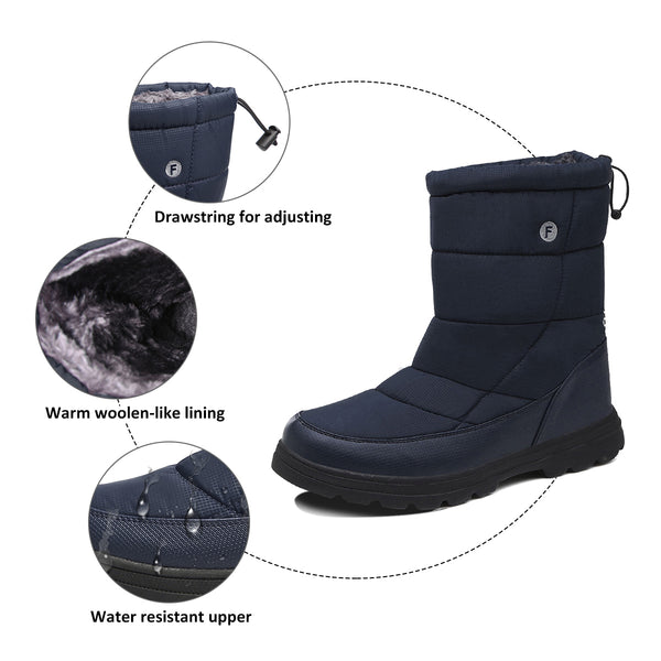 Gracosy Winter Warm Thickening Fur Lined Mid Calf Snow Boots Drawstring Slip On Flat Snow Boots-Men Size