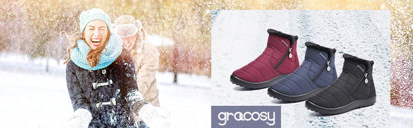 Gracosy Women Winter Snow Zipper Ankle Boots, Waterproof Anti-Slip Fur Lined Warm Flat Boots