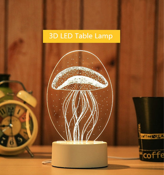 3D Night Light Bedroom Decor Desk Lamp