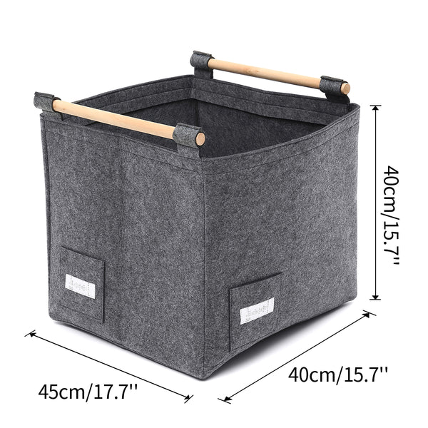 Felt Storage Basket Foldable Organizer with Wood Holder