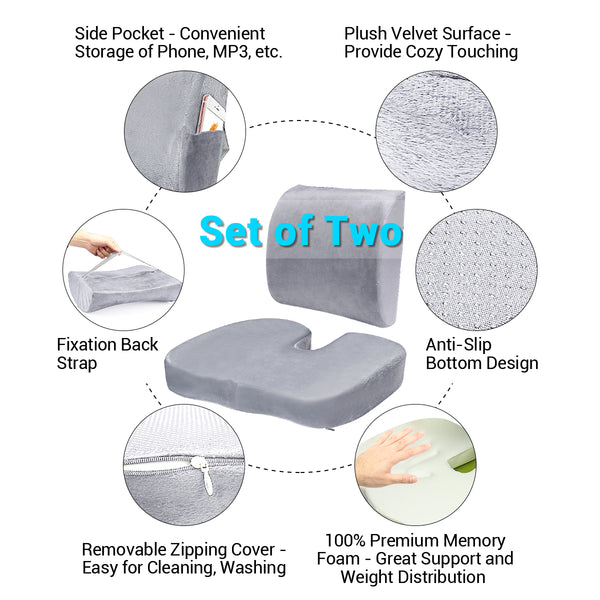 Memory Foam Back & Seat Cushion for Back, Lumbar Pain Relief
