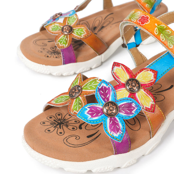 Gracosy Women Summer Flower Splicing T-Strap Leather Sport Sandals, Open Toe Cushioned Insole Hook Loop Sport Sandals