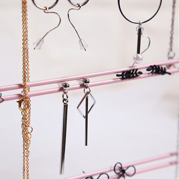 Jewelry Hanging Display Rack Jewelry Storage Stand Rack with Hooks, Earrings Free Hanging