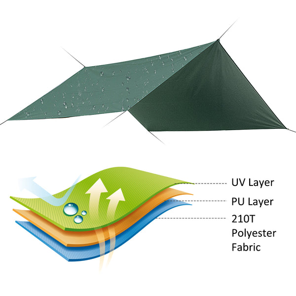 Garden Waterproof UV Protection Camping Tarp Sunshade Lightweight Outdoor Hiking Picnic Tent Tarp
