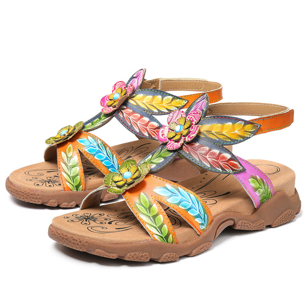 Gracocosy Summer Women Flower Splicing Flat Sandals, T-Strap Sandals