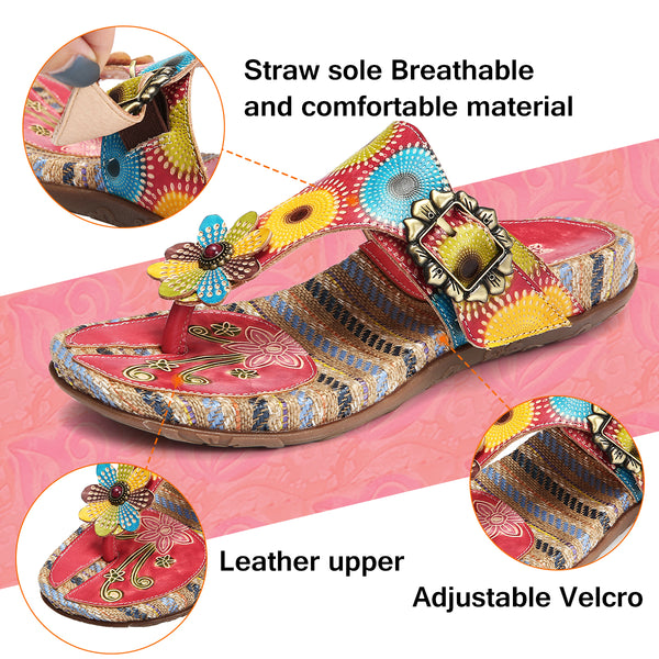 Gracosy Women Summer Handmade Leather Straw Insole Clip Toe Flip Flops, Bohemian Handmade Flower Splicing Backless Slippers Sandals