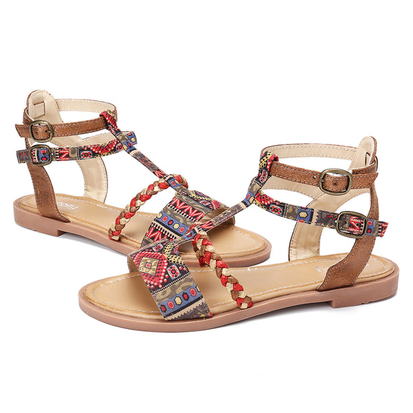 Gracosy Women Summer Bohemian Gladiator Flat Sandals, Gladiator Strappy Flat Leather Sandals, Open Toe Ankle Strap Slippers
