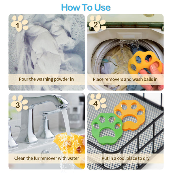 6PCS Laundry Pet Hair Remover & Washing Machine Ball, Reusable Cleaning Ball For Floating Pet Fur