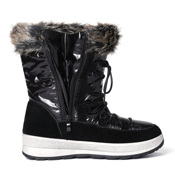 Gracosy Women Warm Fur Lined Winter Snow Boots Mid Calf Waterproof Anti Slip Lace Up Zipper Snow Boots