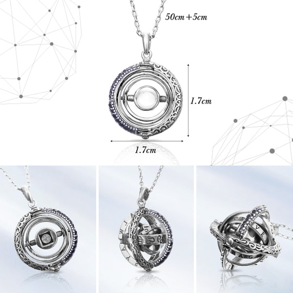 Astronomical Rotatable Foldable Micro-Craving Sterling Silver Necklace, I Love You In 100 Languages Inlaid Necklace