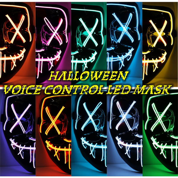 Halloween LED Mask Light Up Mask Glow in the Dark EL Wire Light Up for Festival Cosplay Costume Party