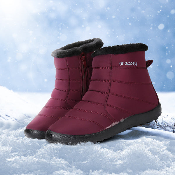 Gracosy Women Winter Snow Boots, Snowproof Fur Lining Warm Zipper Booties Mid Calf Hiking Snow Boots