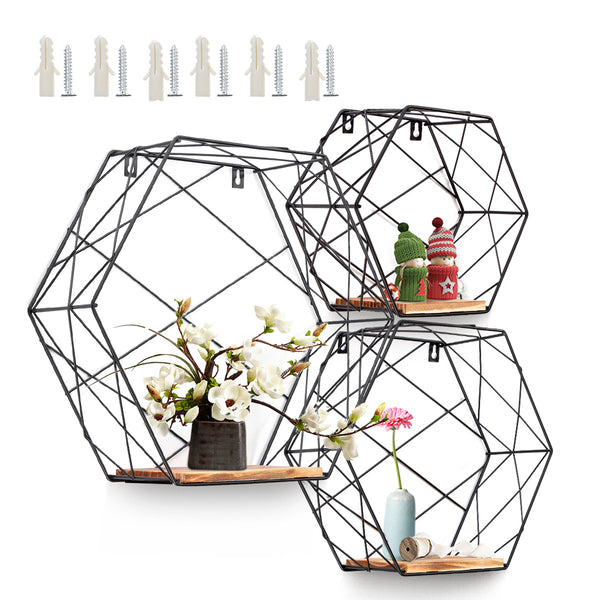 Wall Mounted Hexagonal Floating Shelves Storage Shelves for Home & Office Set of 3 (SML)