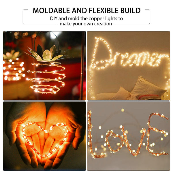 50/100 LED Strings Lights with 50 Photo Clips 17/33FT Warm/White Copper Wire Light for Indoor/Outdoor Decor