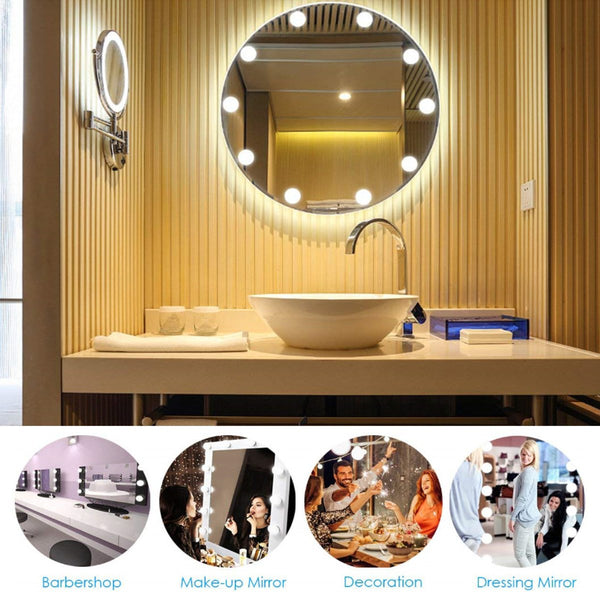 10PCS LED Bulb String Vanity Mirror Lights Kit , 5V 3 Colors Light for Bathroom Mirror