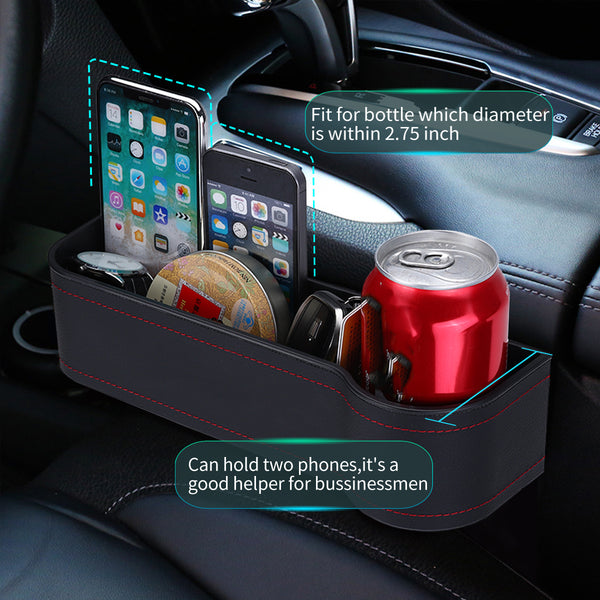 2PCS PU Leather Car Organizer Front Seat Filler, Multifunctional Cellphone Wallet Cup Cards Holder Storage Basket