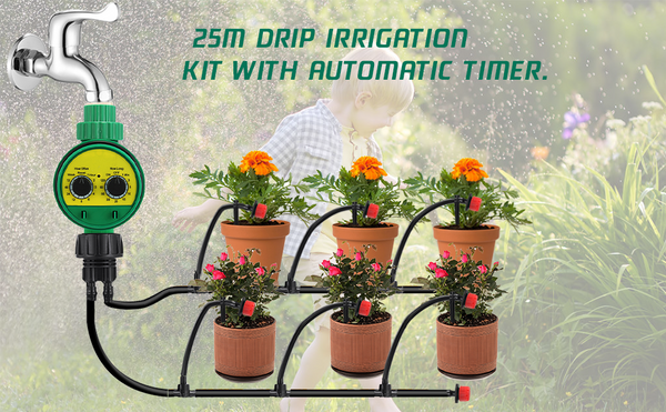 25M Drip Irrigation Kit w/ Adjustable Timer, DIY Automatic Irrigation System for Garden Irrigation