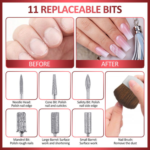 Electrical Professional Nail File Kit w/ 11 Bits, 50 Sanding Bands,100 Nail Extension
