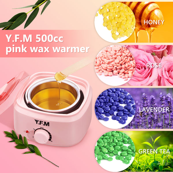 500ML Professional Wax Warmer Hair Removal Waxing Kit w/ 4 Wax Beans, Painless Adjustable Temperature for Hair Types