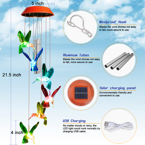 Solar Hummingbird Wind Chimes w/ 3 Tuned Tubes Color Changing LED Lights, Anti-Fall Hook as Garden Decor
