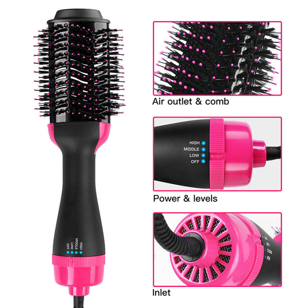 Hot Air Brush Dryer, One-Step Hair Dryer w/ Ion Generator for Fast Drying, Hair Dryer and Styler