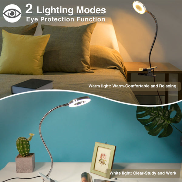 LED Book Light, Clip Reading Light, USB Rechargeable Bed/Desk/Makeup Light, 2 Brightness with Eye Protection