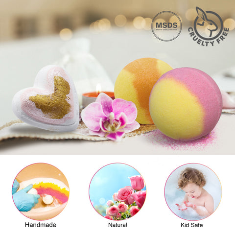 Skymore 10 Bath Bombs Gift Set w/ Natural Bath Balls for Skin Care & Relaxation, Gift for Family 96/5000