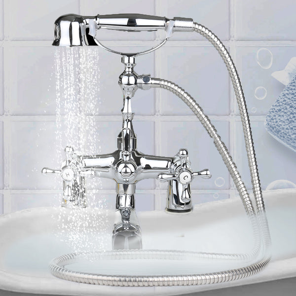 Victorian Traditional Style Luxury Bathroom Chrome Brass Bath Shower Mixer Tap Shower Head