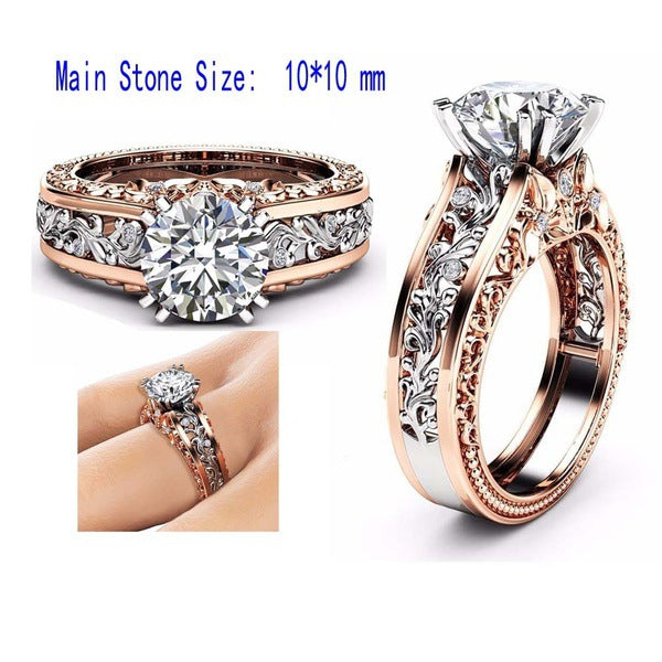 14K Rose Gold Hollow Flower Platinum Rings