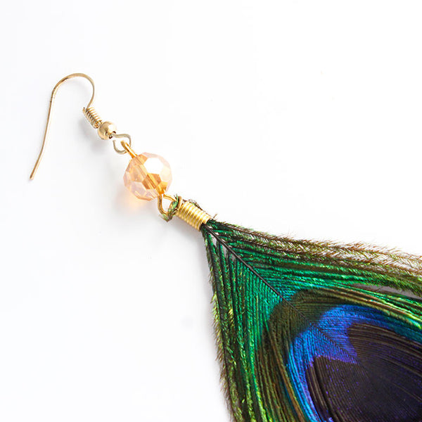 Handmade Vintage Boho-Chic Peacock Feather Earrings