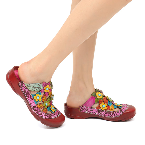 Gracosy Women Summer Leather Mule Clogs Summer Flower Hollow Out Sandals Slippers, Round Toe Backless Loafer