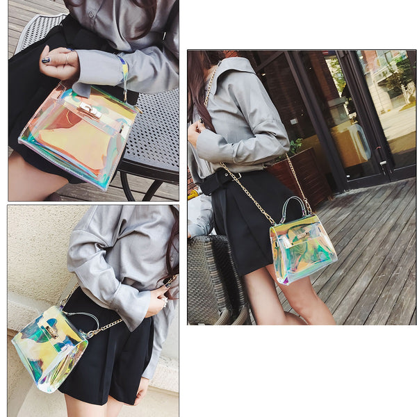 Transparent Holographic Beach Bag