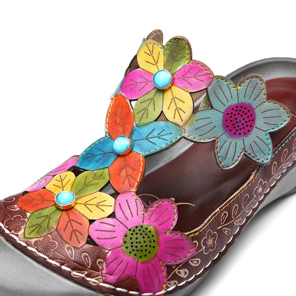 Gracosy Women Summer Leather Mule Clogs Summer Flower T-Strap Sandals Slippers, Round Toe Backless Loafer
