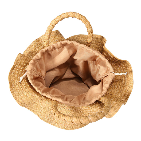 Flower Shaped Drawstring Straw Bag