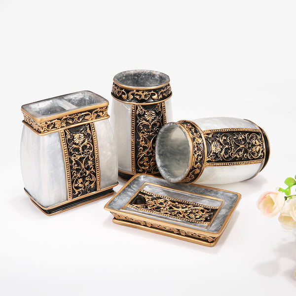 5PCS Court Style Bathroom Accessory Set Goth Marble Style Resin Bathroom Accessories Lotion Dispenser, Soap Dish, Toothbrush Holder & Tumblers