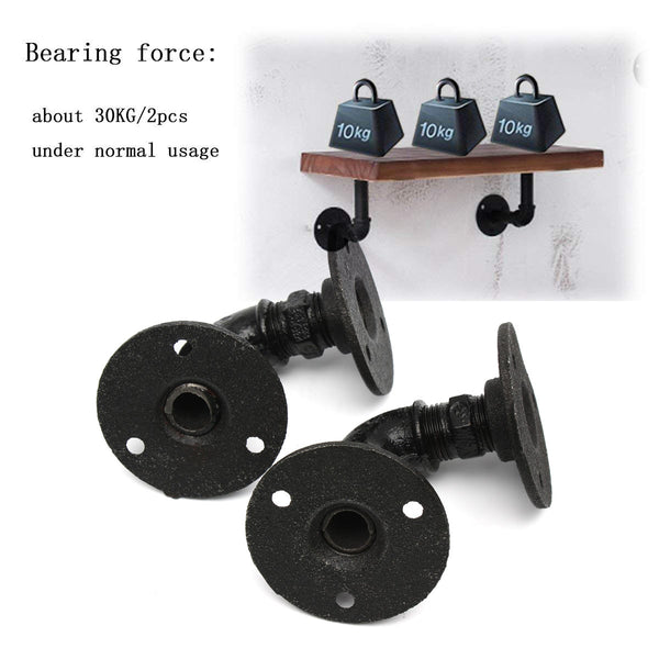 2PCS Industrial Style Pipe Shelf Brackets Shelf Bracket for Book Shelf, Floating Shelf
