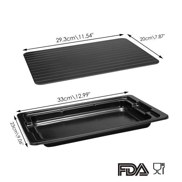 Defrosting Tray, 30 Mins Thawing Plate with Drip Tray for Faster Defrosting Frozen Food
