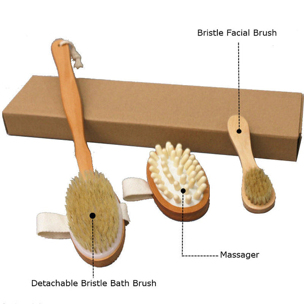 Detachable Body Brush, Massager & Facial Brush 3PCS Cleaning Set for Shower Bathing by 100% Natural Boar Bristles