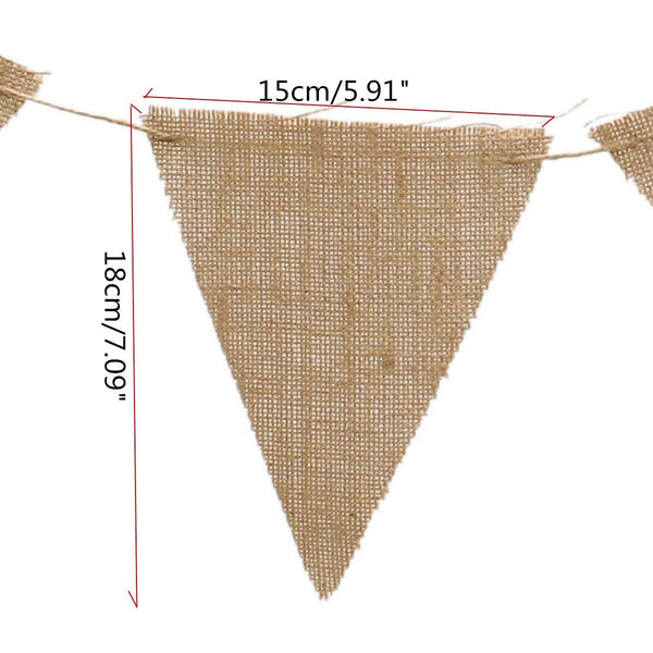 36 Vintage Decor Burlap Banners Flag
