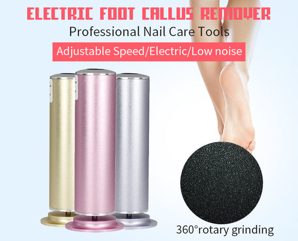 Electric Foot File Callus Remover 360° Rotary with Replacement Sandpaper Discs Pedicure Tool
