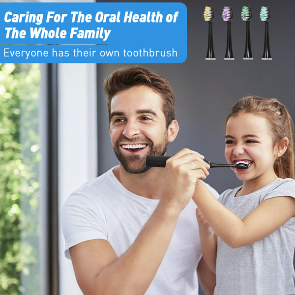 5 Modes Waterproof Electric Toothbrush, Rechargeable with 4PCS Replacement Heads & Disinfection Base