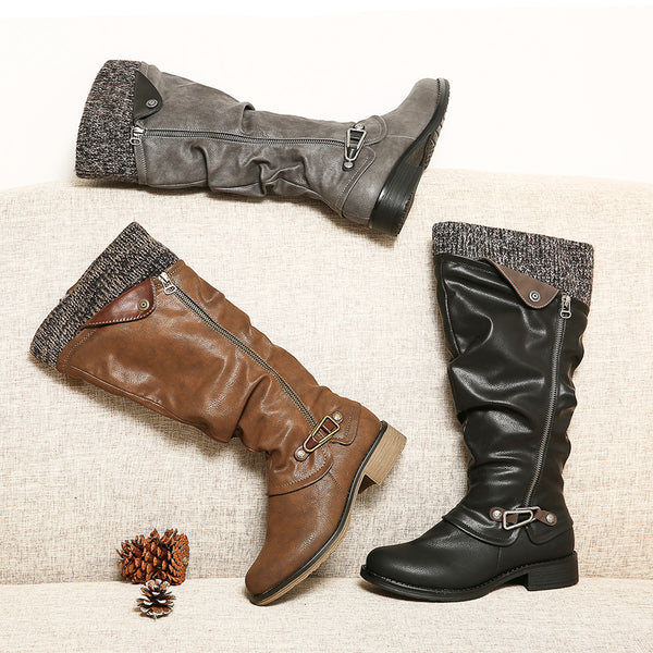 Gracosy Women Winter Leather Warm Knee High Boots Ladies Flat Heel Zipper Buckle Riding Boots