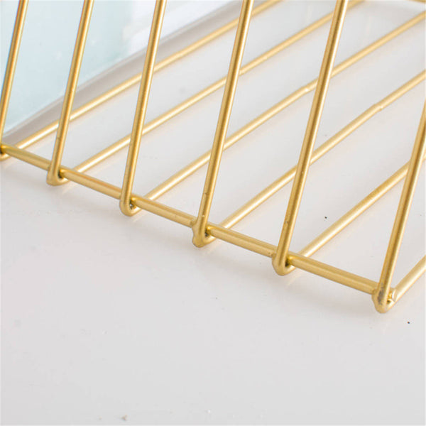 9 Compartment Triangle Gold Letter Storage Rack Nordic Style Tray Holder Desk Organizer