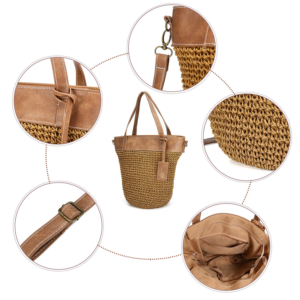 Outdoor Casual Cross body Straw Handbag-4
